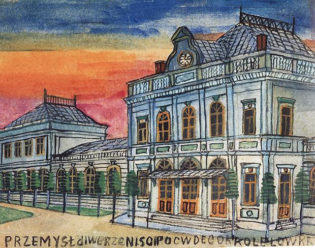 Dworzec kolejowy w Przemyślu, reprodukcja Piotr Droździk, Muzeum Okręgowe w Nowym Sączu